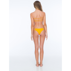 Moto Nilo Smocked Strappy Bandeau Top in Marigold