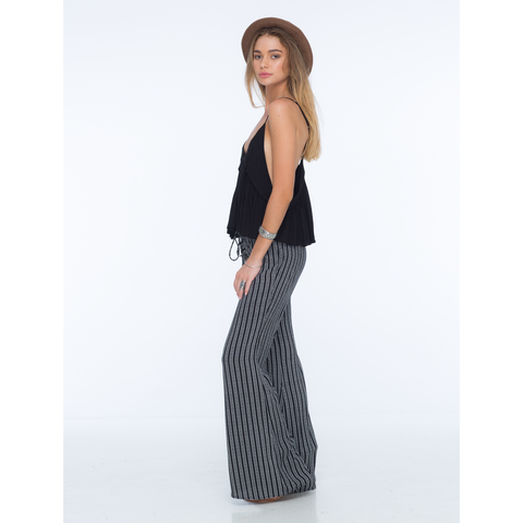 Electric Lace Up Flare Pant in Black Nobel