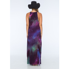 Pilar Tie Dye Crepe Center Panel Maxi Dress in Cosmic Tie Dye