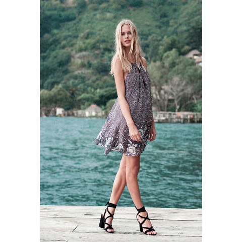 La Cucaracha Mini Dress in Grey Print