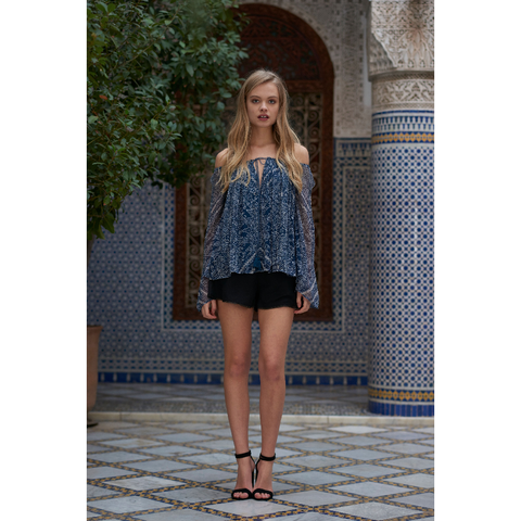 Moroccan Blouse in Tile Print