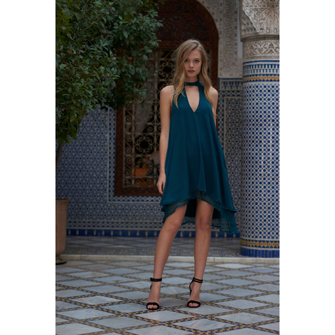 Imperial Mini Dress in Deep Emerald