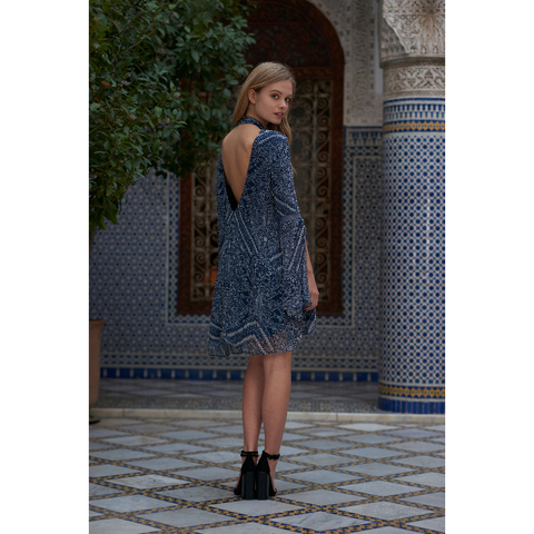 Moroccan Mini Dress in Tile Print