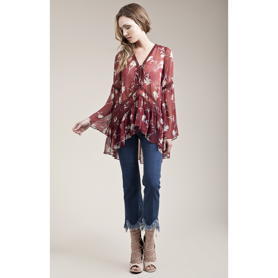 Trim Contrast Print Tunic in Burgundy
