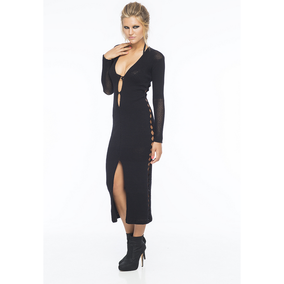 Simone Cotton Knit Croquet Long Sleeve Maxi Dress in Black