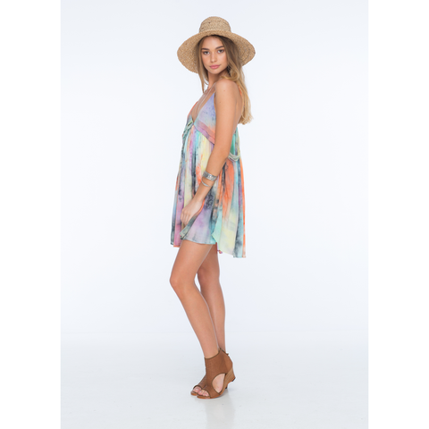 Saffron Tie Dye Pleat Detail Sundress in Impression Tie Dye