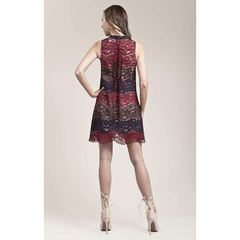 Multi Color Halter Lace Dress in Burgundy
