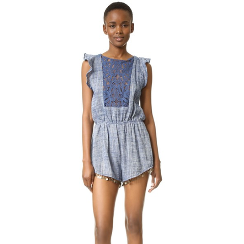 Ravie Applique Linen Romper in Midnight Blue
