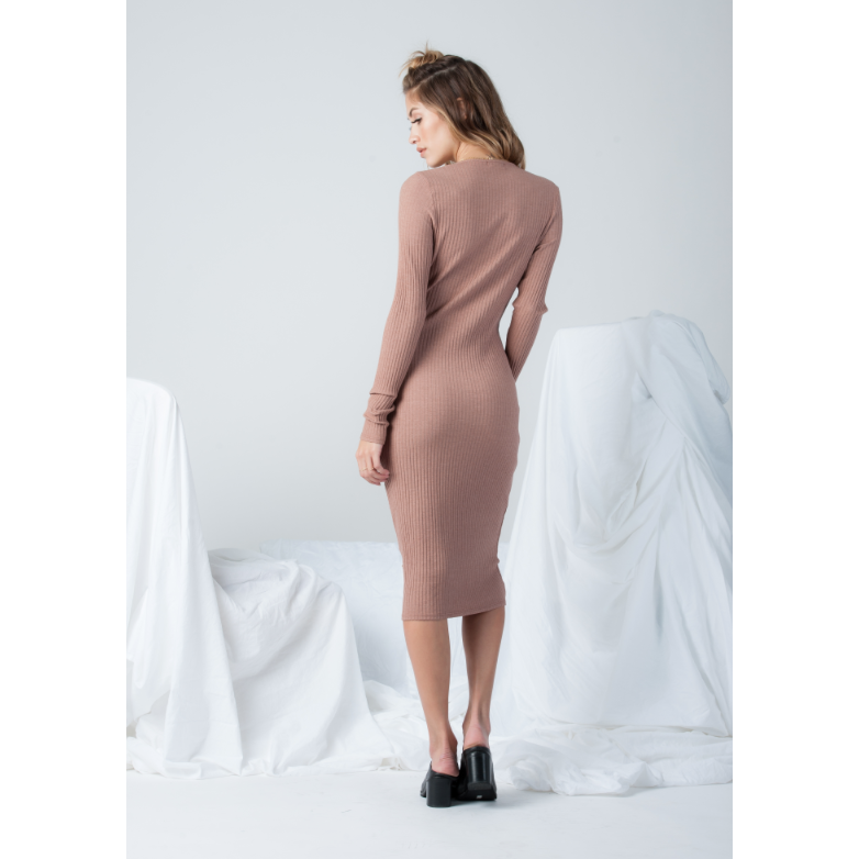Long Sleeve Plunge Dress in Mauve