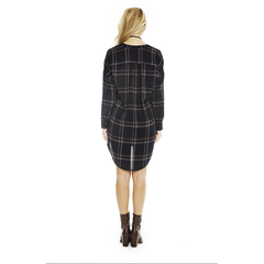 Gertrude Shirt Dress in Navy Plaid
