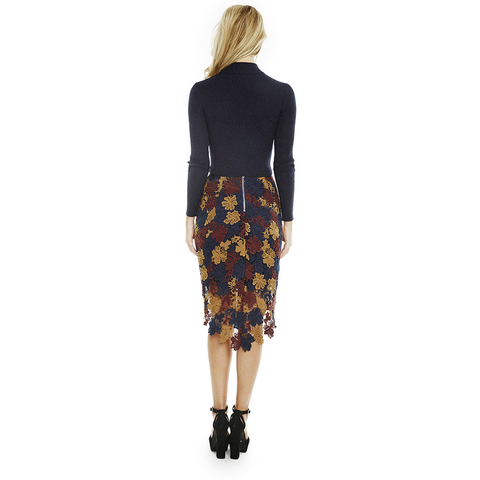 Betty Skirt in Navy Wine Multi