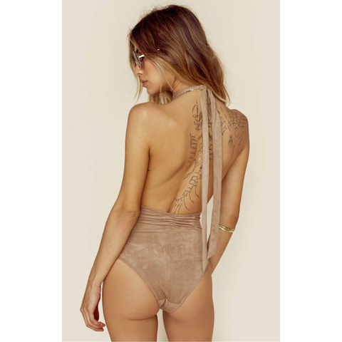 Dancing Days Halter Bodysuit in Fawn