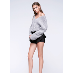 Hart Cropped Sweater in White Charcoal Marle