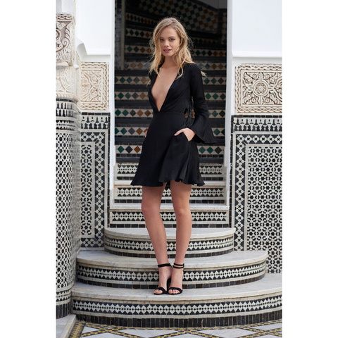 Spartel Fringe Mini Dress in Black