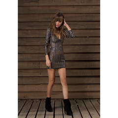 Evaline Dress in Black Striped Sequin