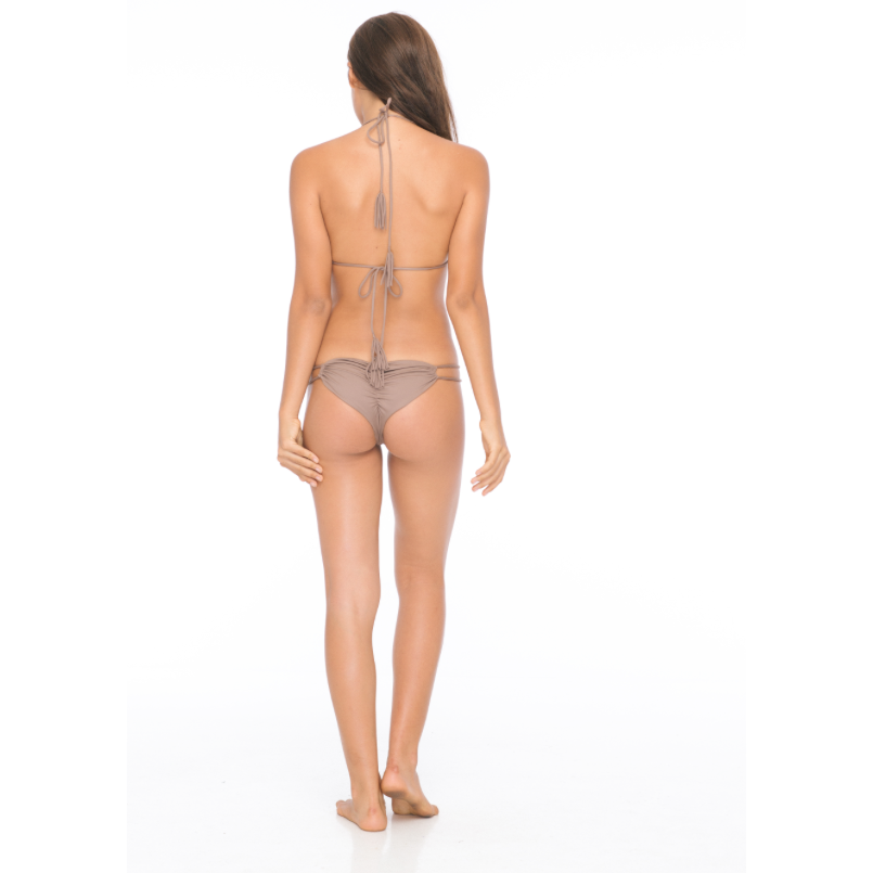 Maresol Medium Coverage Double Strap Bikini Bottom in Mocha