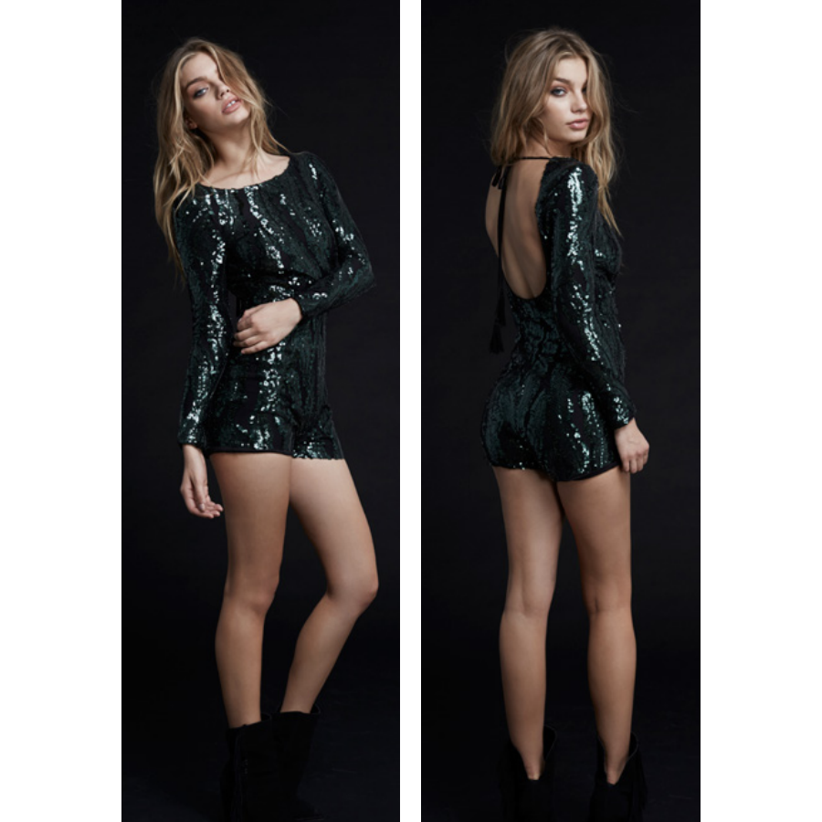 All Night Long Playsuit in Green Sequin