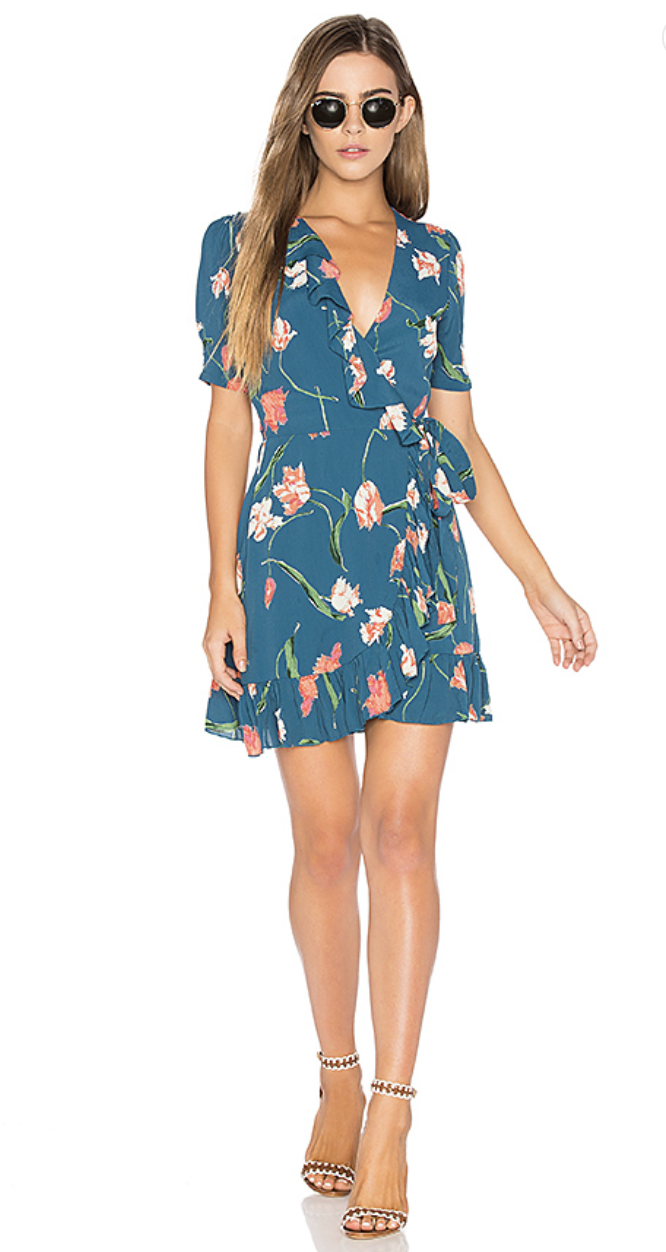 June Dress in Teal Floral