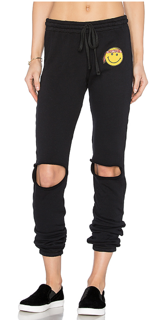 Sherri Jogger Happy Hippie Patch Sweatpants in Black