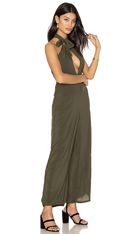 Electra Tie Front Jumpsuit in Olive