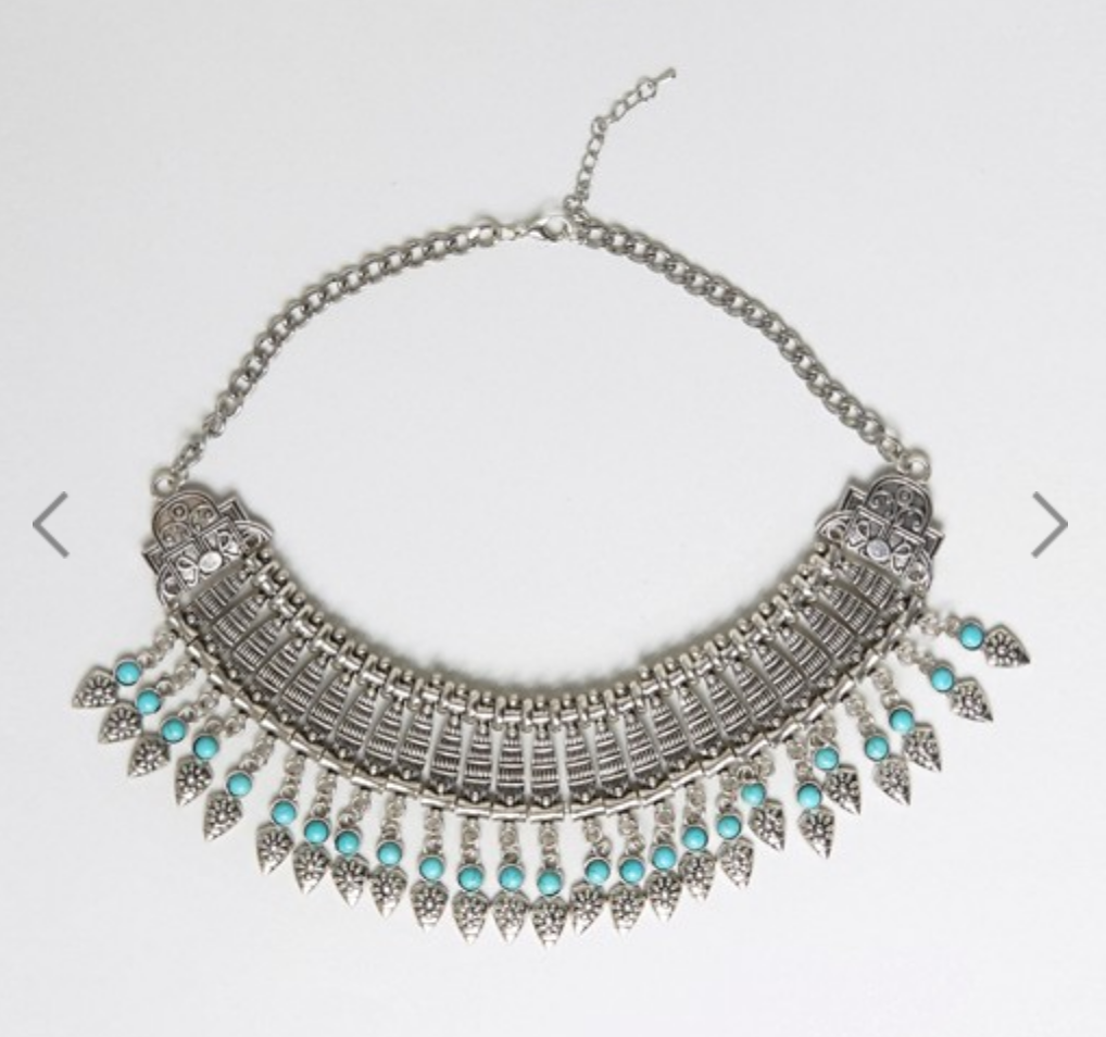Fringe Statement Necklace in Metallic Turquoise
