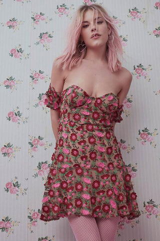 Amelia Strapless Mini in Rosebed