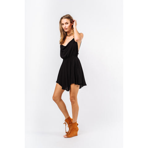 Tahani Solid Crepe Cowl Neck Cocktail Dress in Black