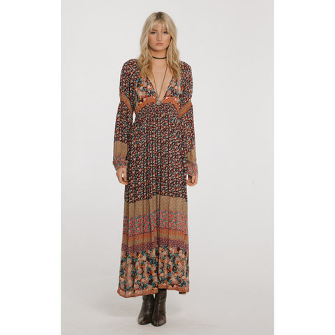 Tuscan Sunset Plunge Maxi in Multi