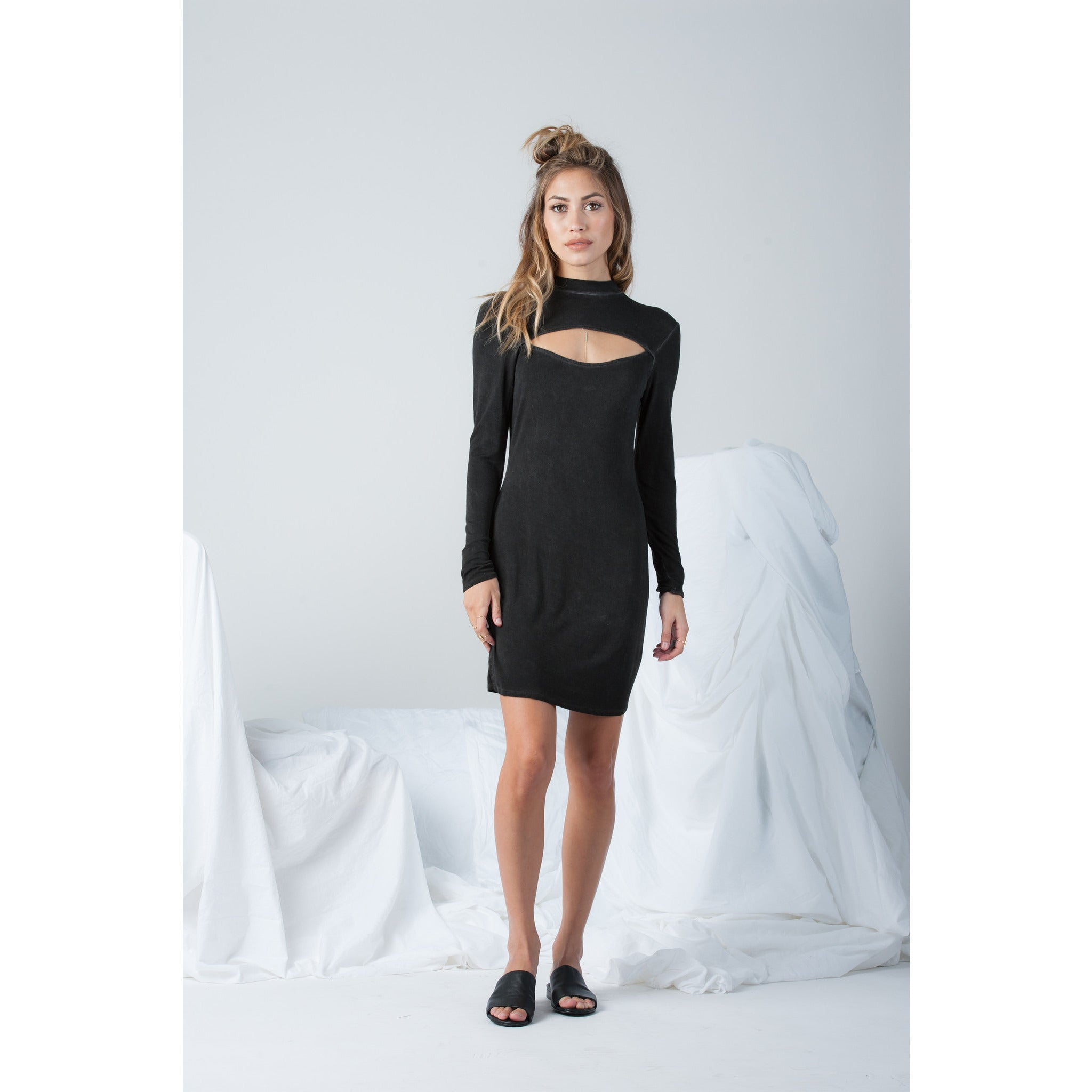 High Neck Long Sleeve Dress with Front Opening in Black