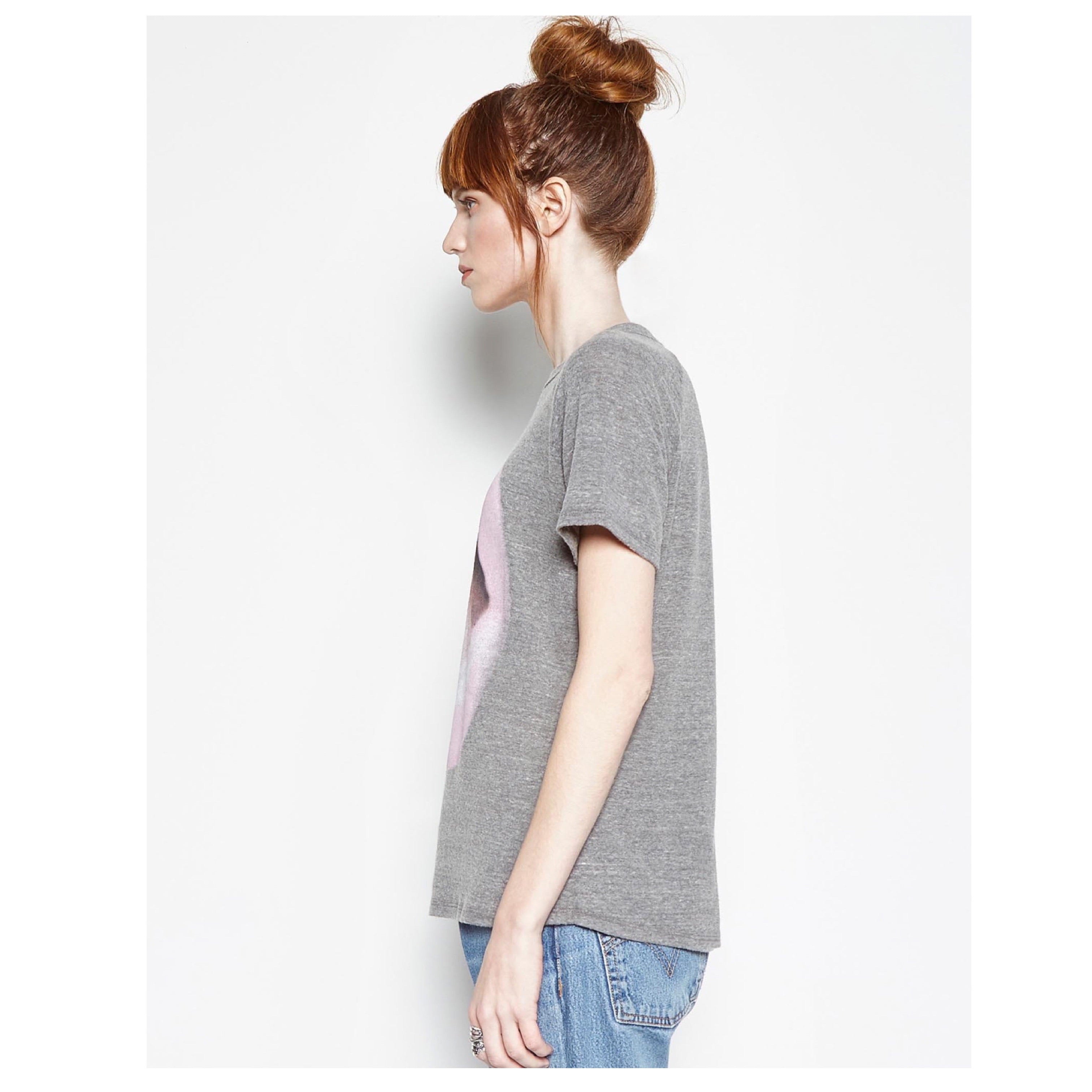 Suki Vintage Raglan Pink Lip Ring in Heather Grey