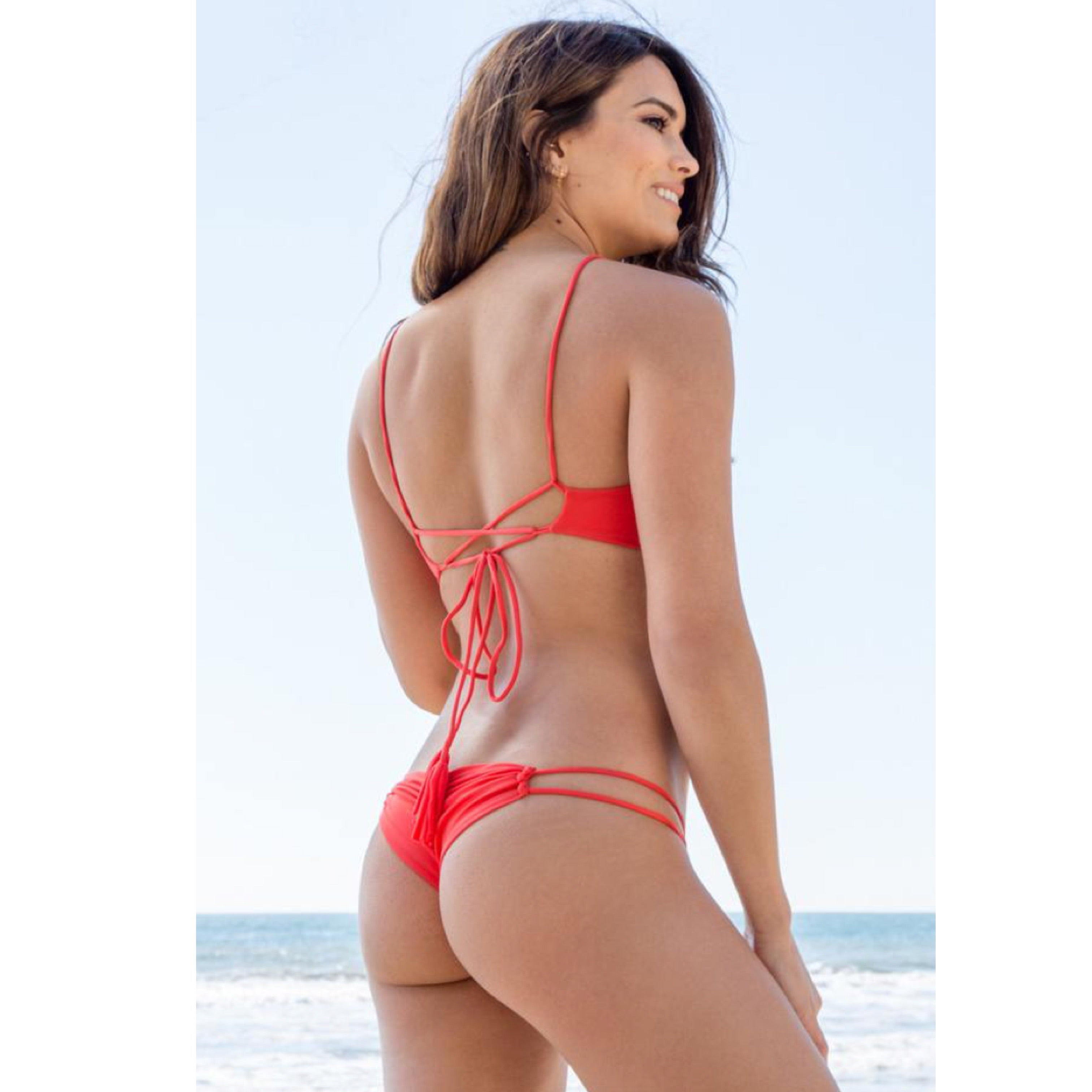 Maresol Solid Double Strap Pinch Bum Bikini Bottom in Chili Pepper