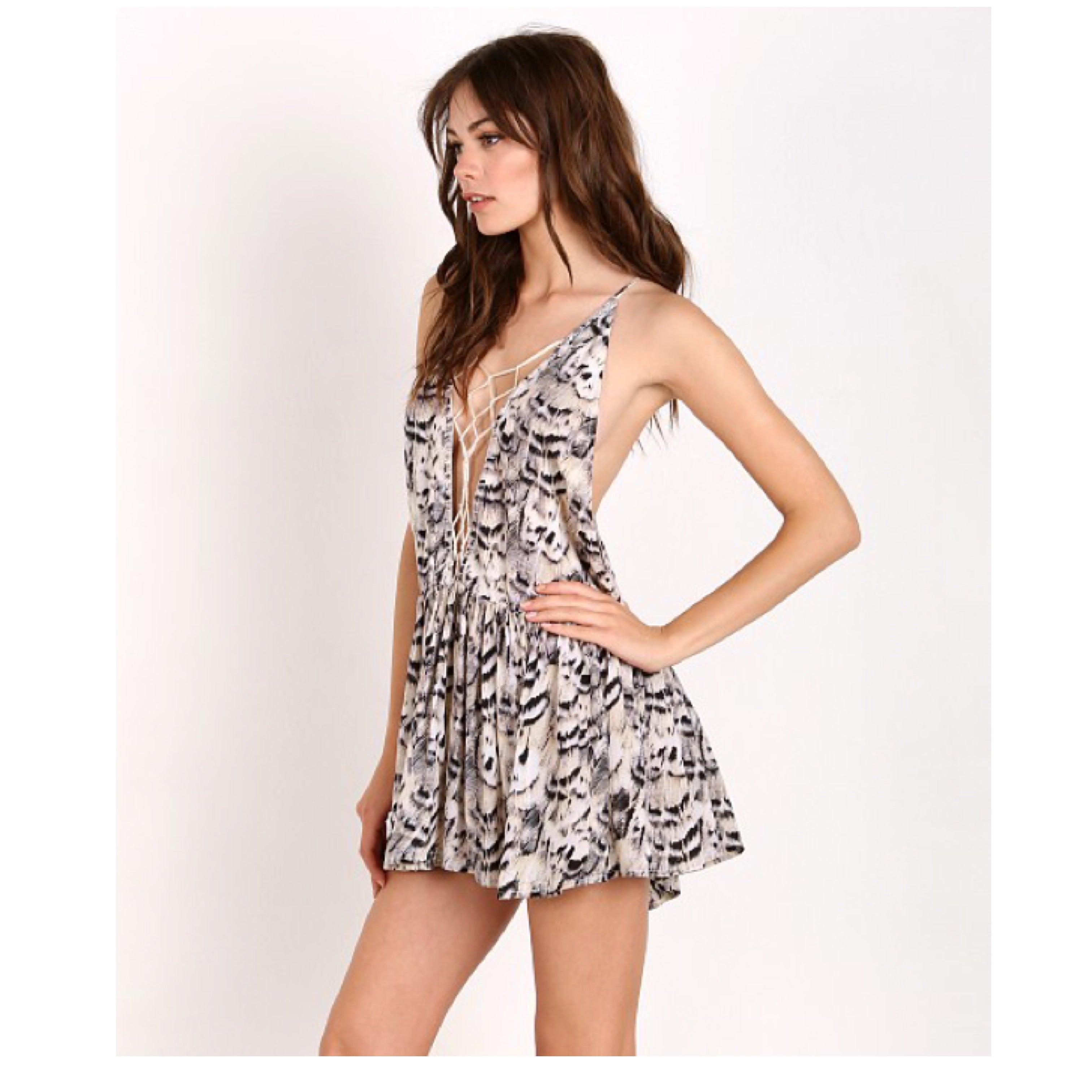 Sachi Macrame Mini Dress in Natural Feathers