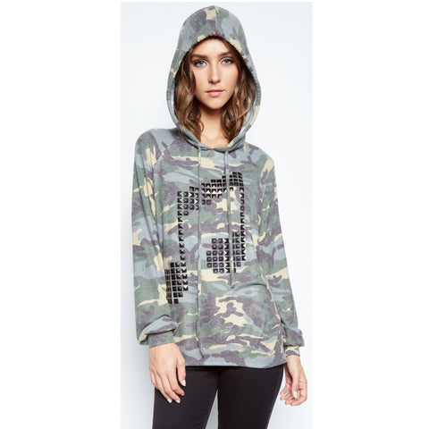 Markie Draped Music Note Studded Hoodie in Vintage Camo