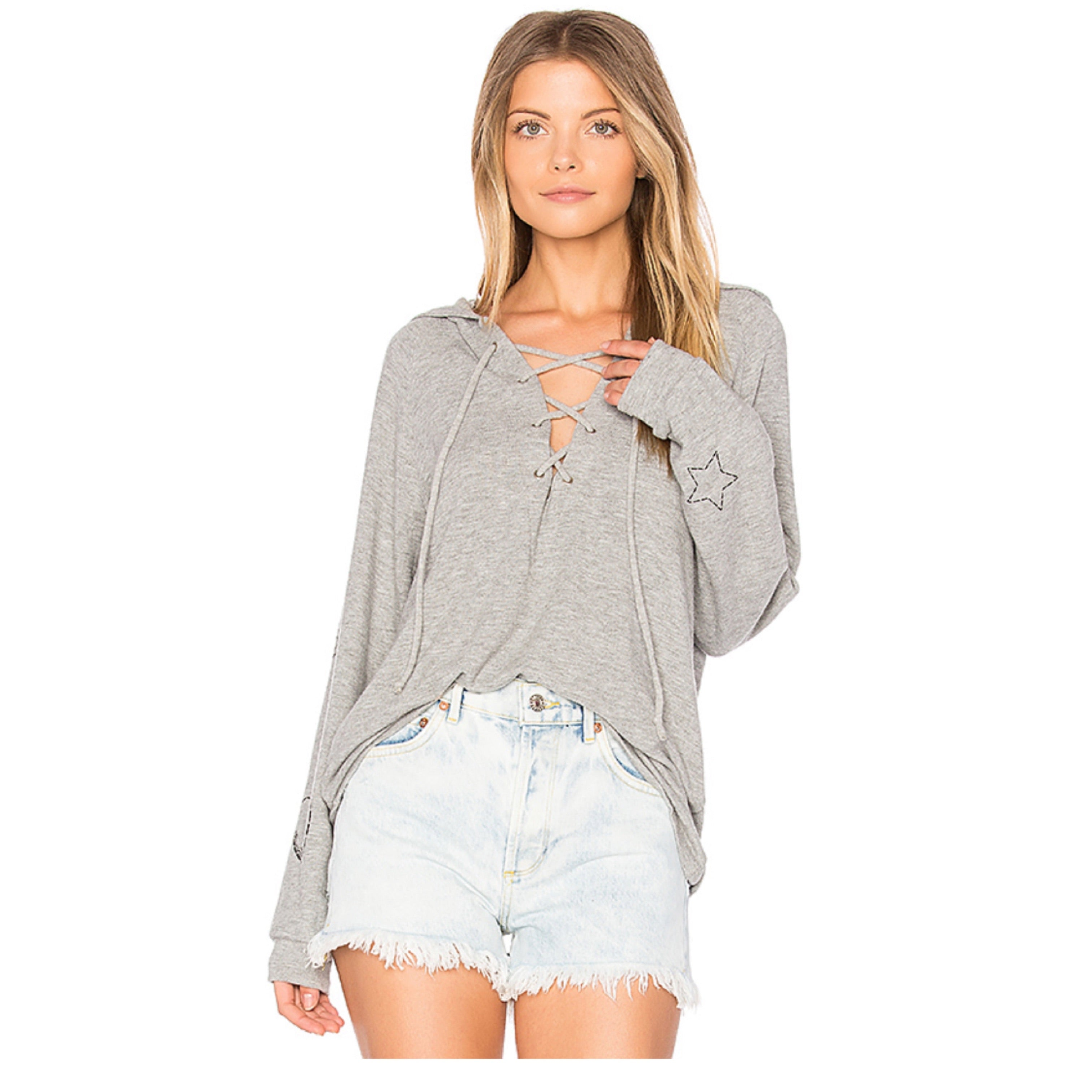 Cali Long Sleeve Lace Up Hoodie in Heather Grey