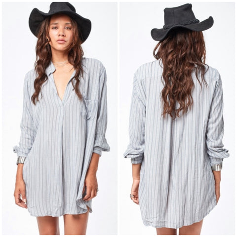 Current Printed Chiffon Long Sleeve Pocket Tunic in Silver Nobel