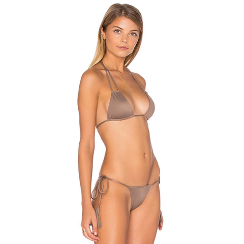 Nolani Double Strap Triangle Bikini Top in Mocha