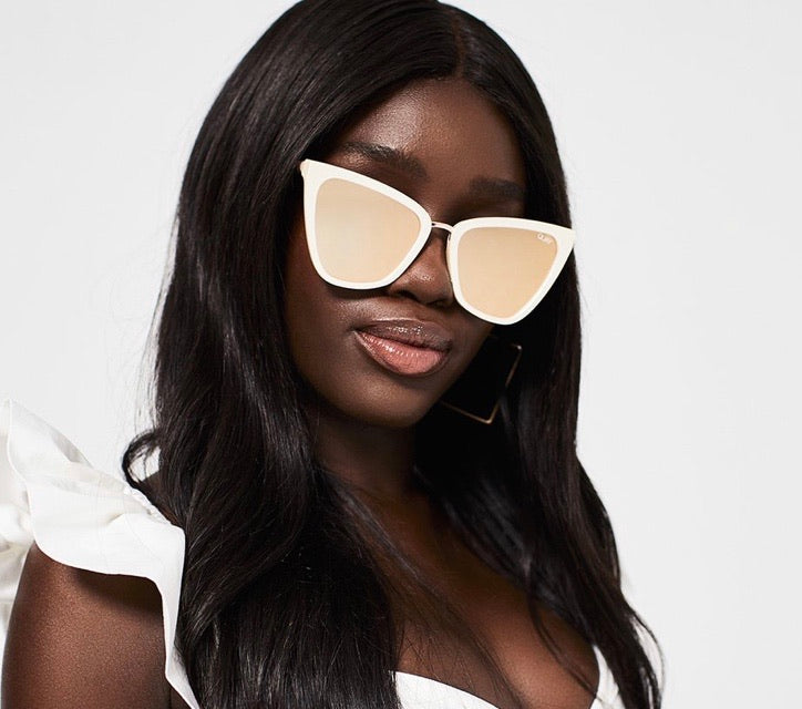 Reina Pearl Rose Gold Mirror Sunglasses