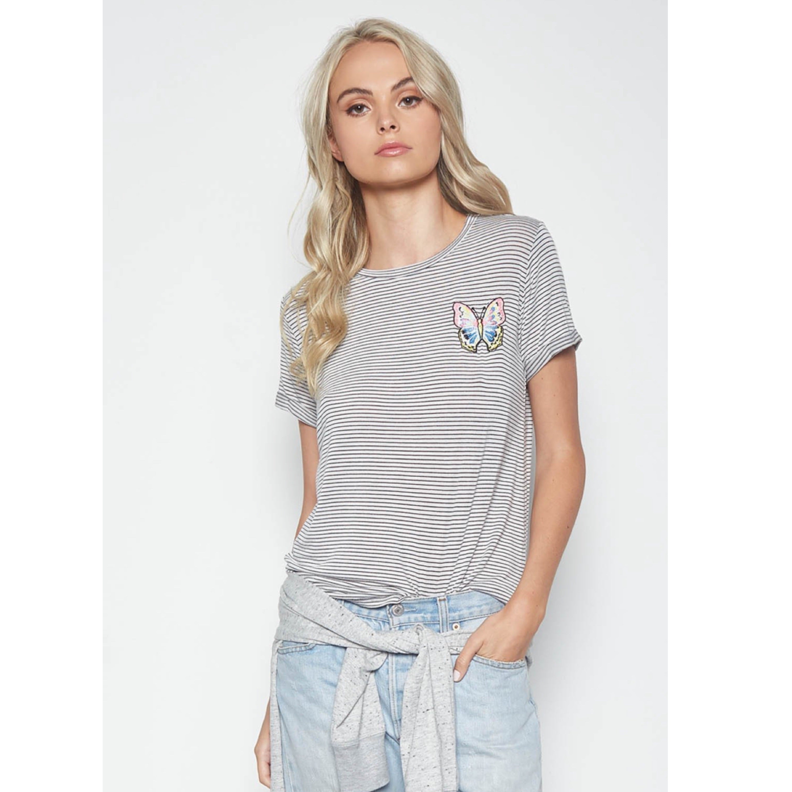 Limp Roll Up Sleeve Tee in Charcoal Stripe Butterfly