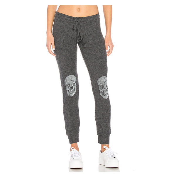 Kizzy Classic Black Heart Skull Knee Cuff Sweatpant in Heather
