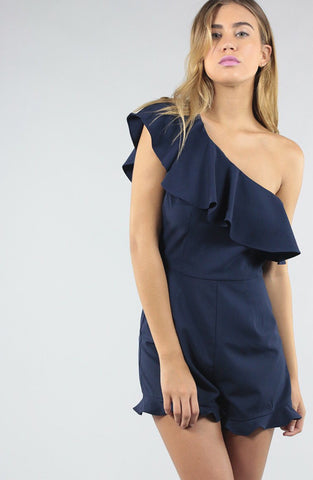 One Shoulder Romper Ruffle Trim in Navy