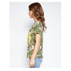 Janie Classic Short Sleeve Yellow Smiley Tee in Vintage Camo