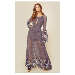 La Cucaracha Maxi Dress in Grey Print