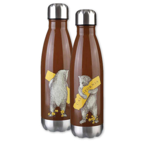 Water Bottle - CA Bear Hug, Stainless Steel, Brown