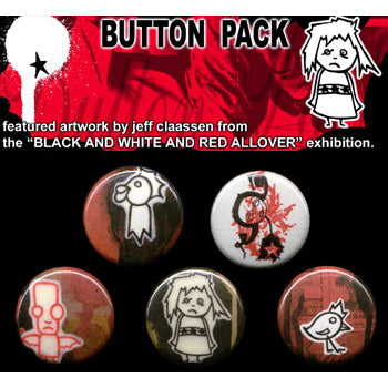 Button Pack - Black And White And Red All Over