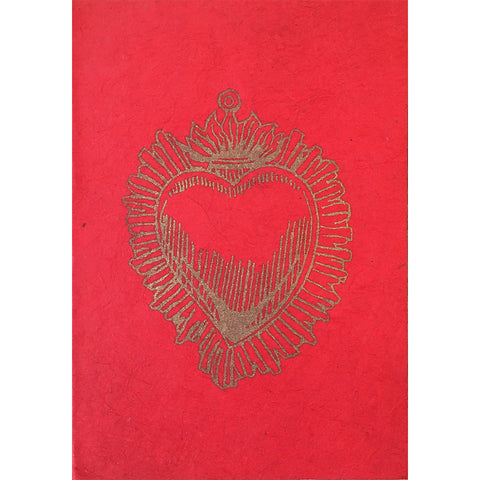 Card - Block Print Heart, Red With Gold