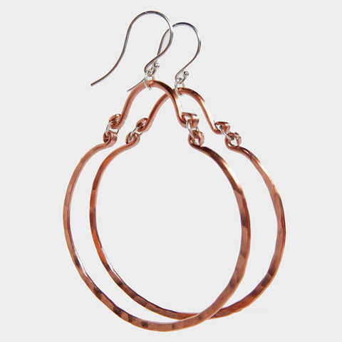 Jewelry - We Goddess, Andrea Copper Hoop Dangle Earrings