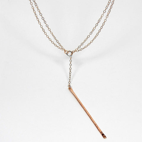 Jewelry - We Goddess, Amanda Bronze Straight Drop Lariat Necklace