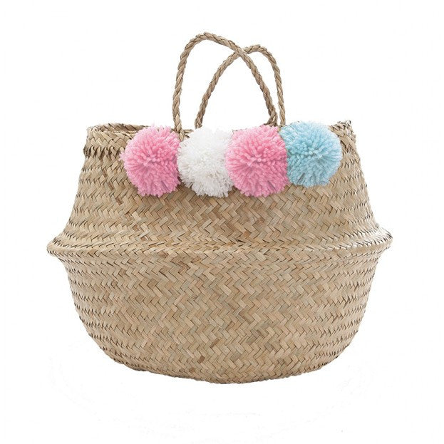 Seagrass Belly Basket - Natural With Pink, White & Blue Wool Pom Poms