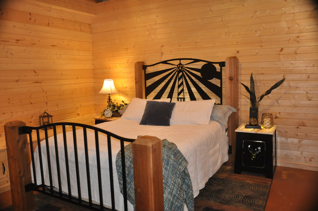 """Centerpoint Lighthouse"" Rustic Queen Bed"