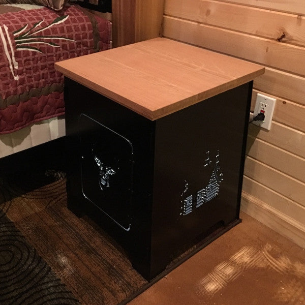 Cabin Night Stand with Lamp / Night Light Combo